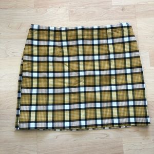 Urban Outfitters Yellow Gingham Mini Skirt
